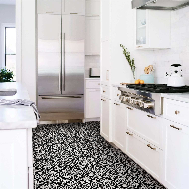 FloorPops Peel and Stick Self Adhesive Floor Tiles   Gothic