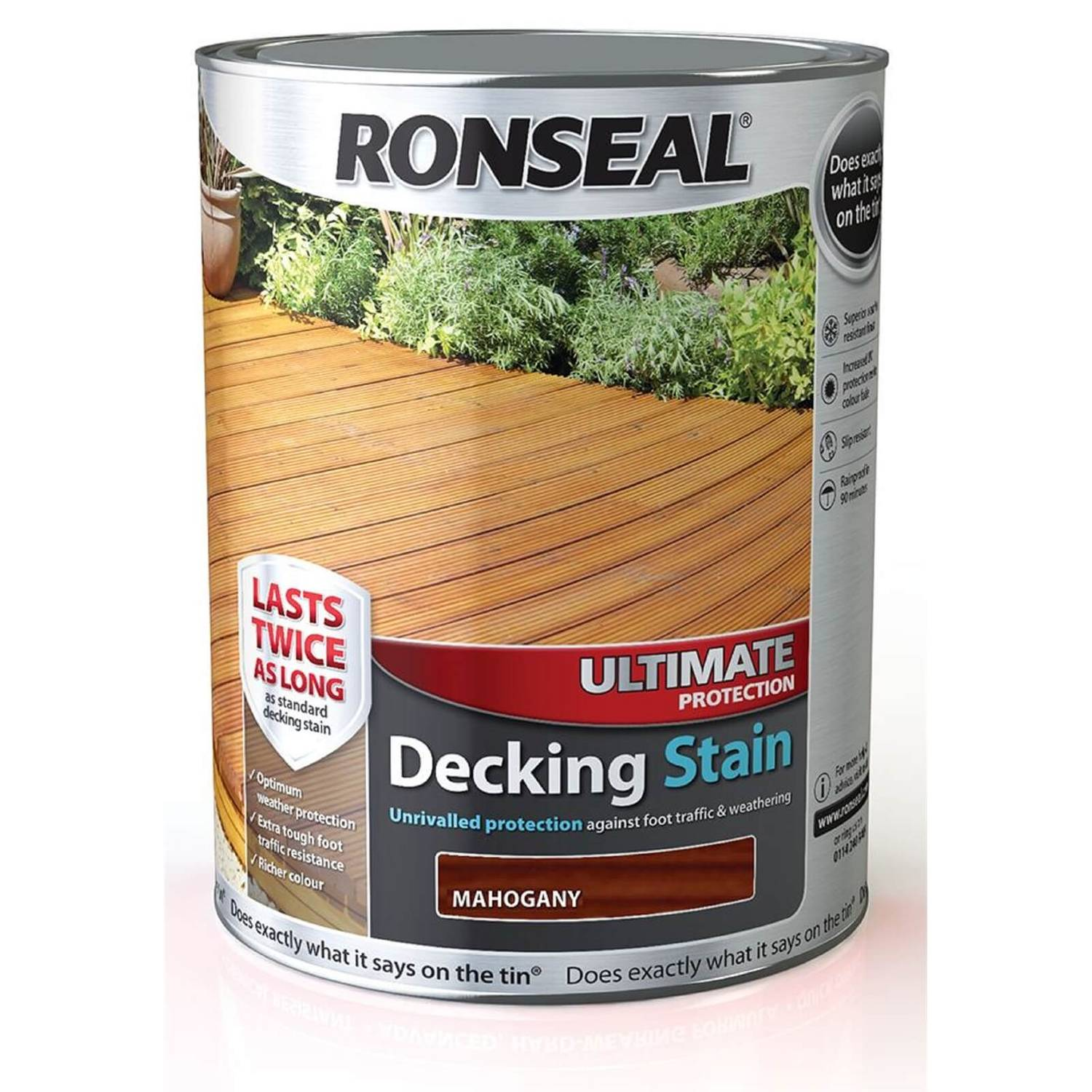 Ronseal Ultimate Protection Decking Stain Rich Mahogany - 5L