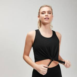 MP Women's Essentials Training Tie Front Crop Vest - Black