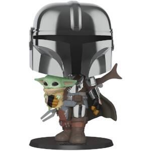 Funko Pop! Star Wars The Mandalorian avec Armure Chrome et l'Enfant Baby Yoda 25 cm