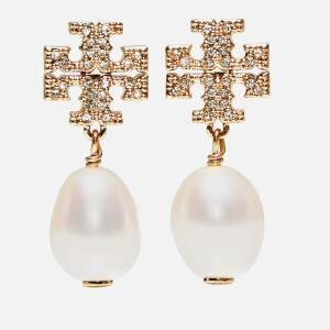 Tory Burch Women's Kira Pave Pearl Drop Earrings - Tory Gold/Pearl