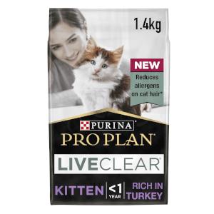 PRO PLAN Live Clear Kitten Dry Cat Food Turkey 1.4kg