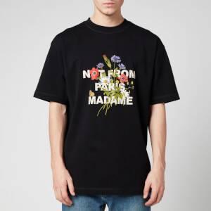 Drôle de Monsieur Men's Flower Slogan T-Shirt - Black