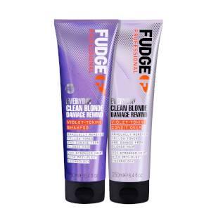 Fudge Professional Clean Blonde Everyday Violet Damage Rewind Purple Shampoo and Conditioner Duo (Worth £28.00)
