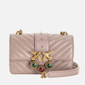 Pinko Women's Love Mini Icon Jewel Quilt Shoulder Bag - Taupe