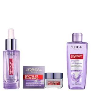 L'Oréal Paris Revitalift Filler Hyaluronic Serum, Day Cream and Micellar Water Bundle