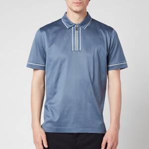 Canali Men's Lux Cotton Half Zip Polo Shirt - Grey