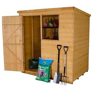 6x4ft Forest Wooden Shiplap Dip Treated Pent Shed -Incl.Installation
