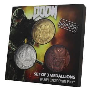 Collection de 3 médaillons Doom 5e anniversaire en édition limitée DUST! - Exclusivité Zavvi