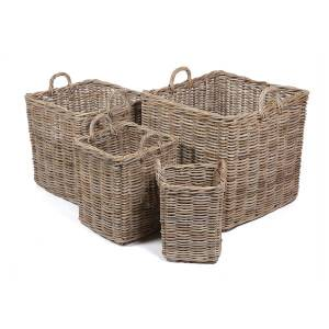 Set of 4 Square Wicker Baskets