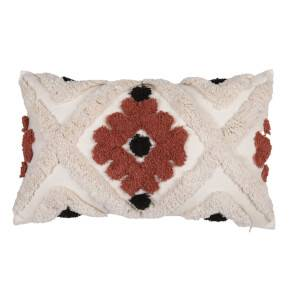 Tufted Geometric Cushion - Rust - 30x50cm