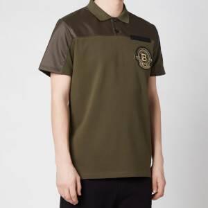Balmain Men's Badge Polo Shirt - Khaki