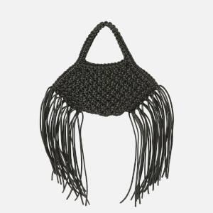 Yuzefi Women's Mini Woven Basket Vegan Leather Bag - Black