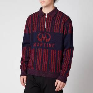 Martine Rose Men's Prysm Half Zip Polo Shirt - Blue/Haute Red
