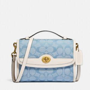 Coach 1941 Women's Originals Signature Denim Kip Turnlock Cross Body Bag - Light Blue