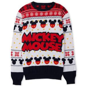 Mickey Mouse Christmas Knitted Jumper White