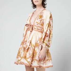 Zimmermann Women's Cassia Plunge Bow Mini Dress - Cream Bird Floral