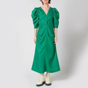 Proenza Schouler Women's Linen Viscose Shirred Sleeve Dress - Bright Green