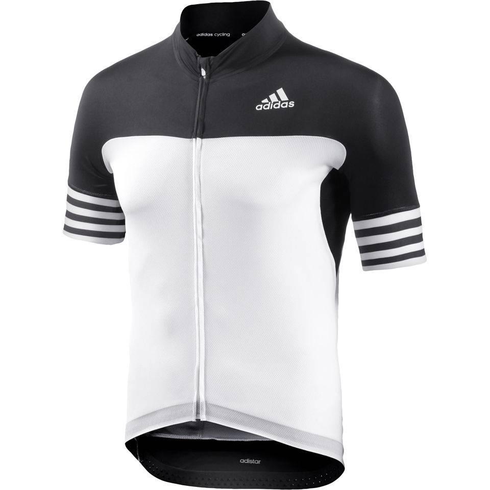 adidas Adistar Short Sleeve Cycling Jersey - White/Black ...