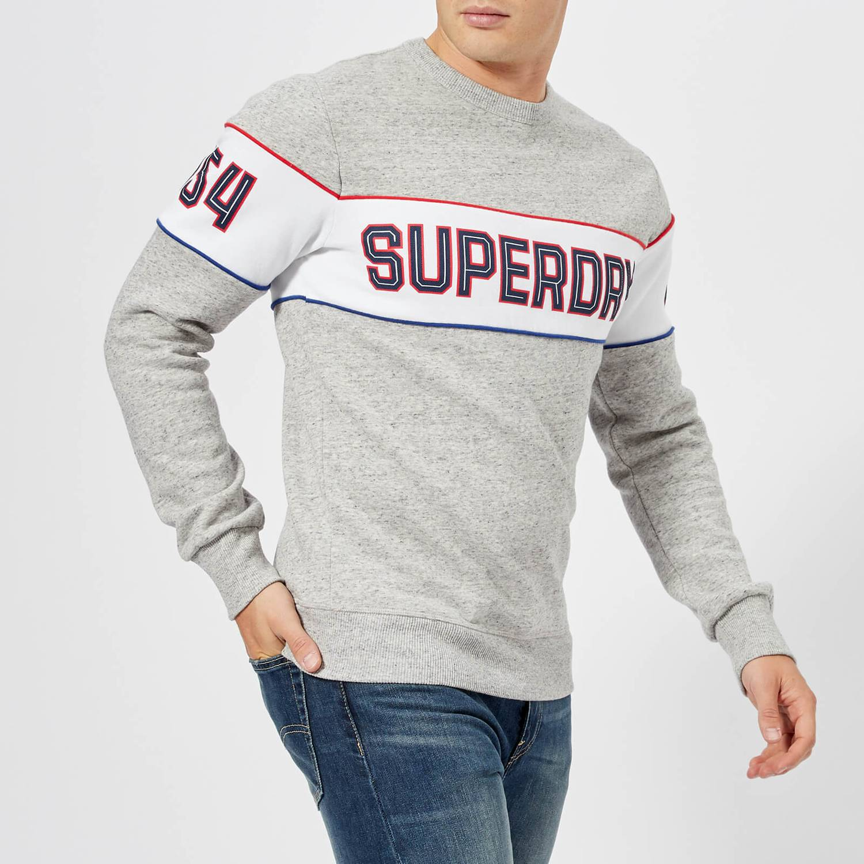 Street Works Grit S-XXXL Superdry Retro Stripe Crew Neck Sweatshirt Grey