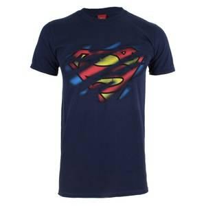 DC Comics Men's Superman Torn Logo T-Shirt - Navy