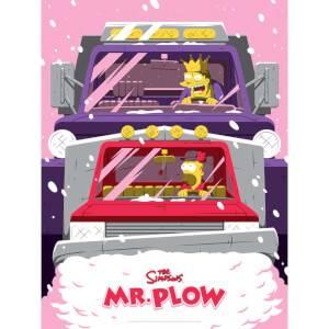 The Simpsons Mr. Plow Variant Zeefdruk door Acme Archive Artist Florey (45 x 60 cm) Beperkt tot 100 stuks - Zavvi UK Exclusive