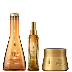 L'Oréal Professionnel Mythic Oil Shampoo, Masque and Oil Trio for Normal/Fine Hair