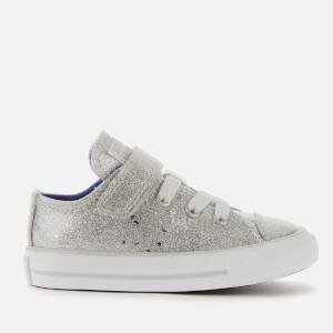 Converse Toddlers' Chuck Taylor All Star 1V Galaxy Glimmer Ox Trainers - Silver/Ozone Blue/White