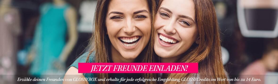 Jetzt Freunde einladen: Erzähle deinen Freunden von GLOSSYBOY und erhalte für jede erfolgreiche Empfehlung GLOSSYCredits im Wert von bis zu 14 Euro