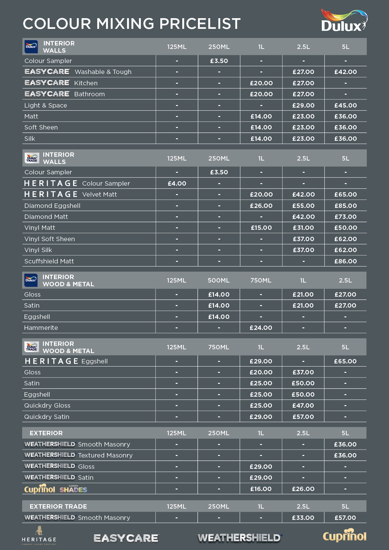 Colour Mixing Price List