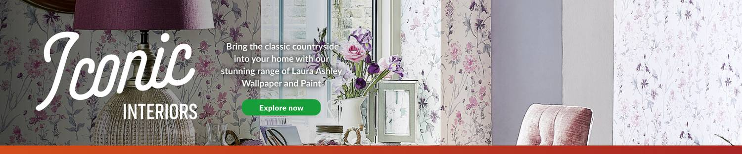 Iconic interiors - bring the classic countryside into your home with our stunning range of Laura Ashley wallpaper and paint. Explore Now