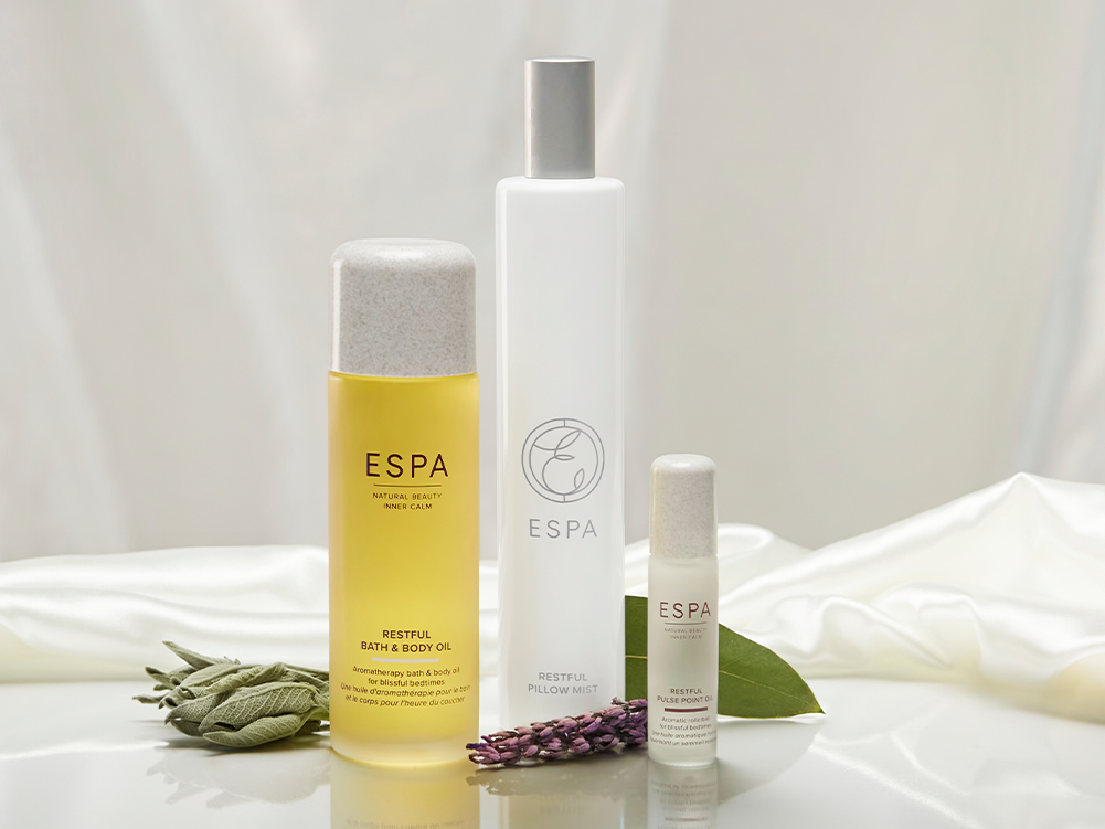 Turn a hectic evening into a relaxing and sleep-promoting experience with ESPA's new Restful collection. A peace-inducing blend of Lavendar, Clary Sage and Bergamot, counting for a truly blissful bedtime routine.<BR><BR>#BlissfulBedtimes