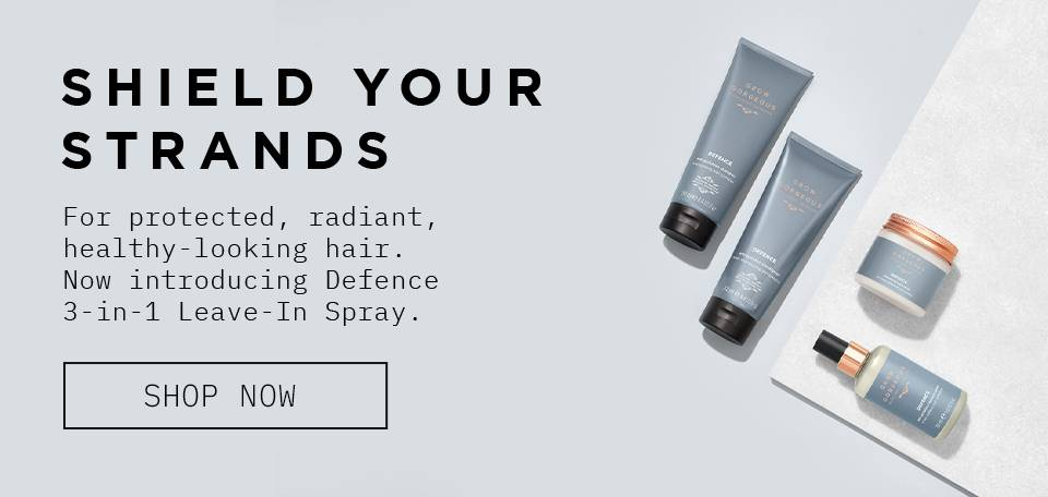 Shiled your strands. For protected, radiant, healthy looking hair. Now introducing defence spray 3 in 1 leave in spray. Click to shop defence collection