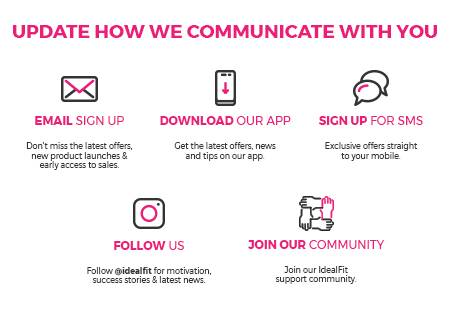 Update how we communicate with you 1). Sign up email 2). Download the app 3). Sign Up to SMS 4). Follow Us 5). Join our Community