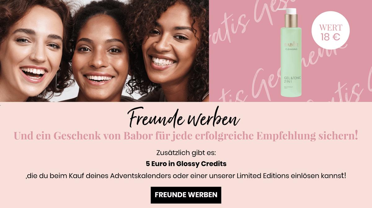 5 Euro für dich und 5 Eurp für deinen Freund, wenn du Ihnen GLOSSYBOX weiterempfehlst