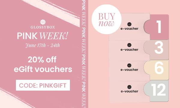 GLOSSYBOX Pink Week June 17-24th - 20% off all eGift vouchers with code PINKGIFT