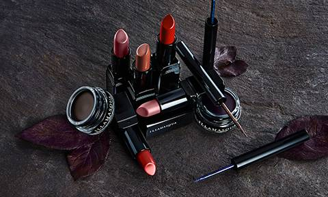 Illamasqua precision gel liner and Lipsticks on slate background