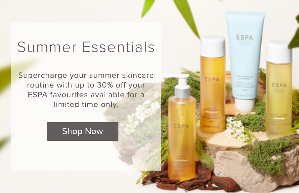 Supercharge your summer skincare routine with up to 30% off your ESPA favourites available for a limited time only.  Click to shop now