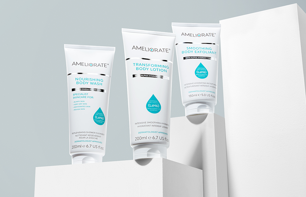 More Skin Confidence, Less Waste Subtitle: At Ameliorate, we are on a mission to help create a more sustainable planet, from becoming plastic neutral to our new 100% recyclable packaging.