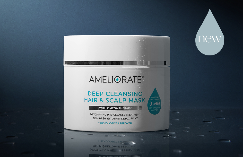Introducing the NEW AMELIORATE Deep Cleansing Hair & Scalp Mask! It rebalances and nourishes with an intensive treatment to reduce impurities, excess oil, product and pollution build-up.