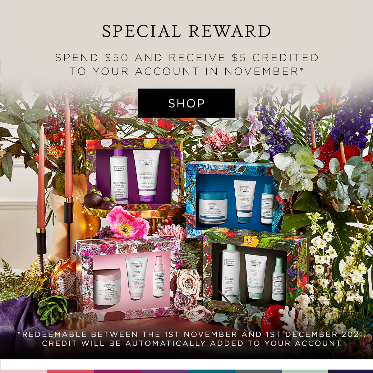 Spend £50 and receive £5 credit.