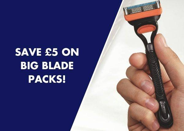 Save £5 on our value packs*, containing a razor and blades to help achieve the best shave a man can get. *Value packs consist of razor and 8 or more blades.