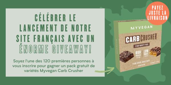 Soyez l'une des 120 premières personnes à vous inscrire pour gagner un pack gratuit de variétés Myvegan Carb Crusher