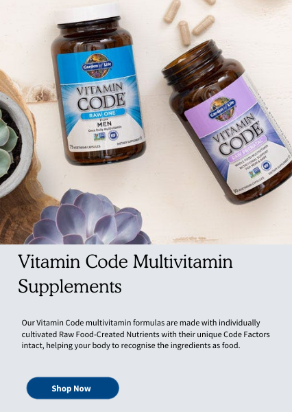 Vitamin Code Multivitamin Supplements. Our Vitamin Code multivitamin formulas are made with individually cultivated Raw Food-Created Nutrients with their unique Code Factors intact, helping your body to recognise the ingredients as food.