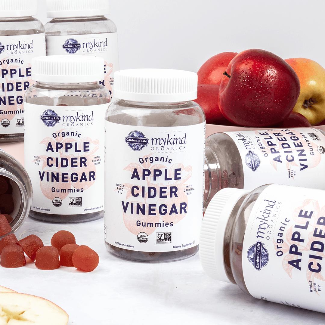Gominolas de vinagre de sidra de manzana ecológica con manzanas