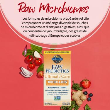 Raw Microbiomes. Les formules de microbiome brut Garden of Life comprennent un mélange diversifié de souches de microbiome et d'enzymes digestives, ainsi que du concentré de yaourt bulgare, des grains de kéfir sauvage d'Europe et des scobies.