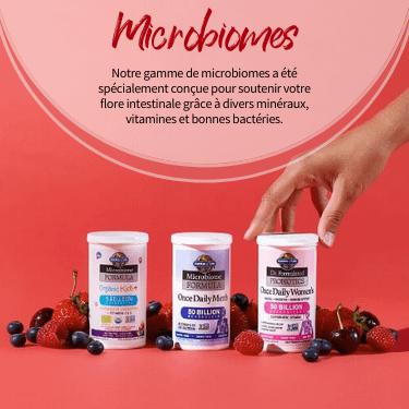 Microbiomes. Notre gamme de microbiomes a été spécialement conçue pour soutenir votre flore intestinale grâce à divers minéraux, vitamines et bonnes bactéries.