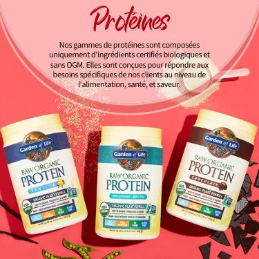 Protéines. Nos gammes de protéines sont composées uniquement d'ingrédients certifiés biologiques et sans OGM. Elles sont conçues pour répondre aux besoins spécifiques de nos clients au niveau de l'alimentation, santé, et saveur.