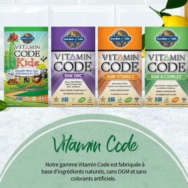 Vitamin Code.Notre gamme Vitamin Codeest fabriquée à base d'ingrédients naturels, sans OGM et sans colorants artificiels.