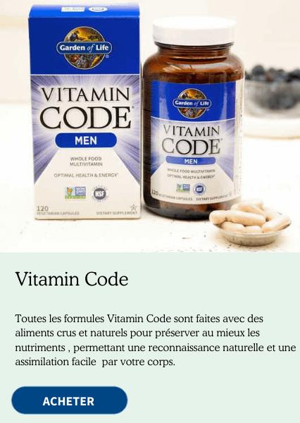 Vitamin Code. Nos formules Vitamin Code sont fabriquées à partir de nutriments créés à partir d'aliments bruts cultivés individuellement et dont les facteurs de code uniques sont intacts. Cela permet à votre corps de reconnaître ces nutriments comme des aliments.